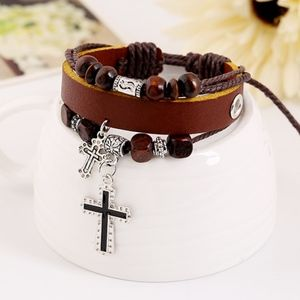 Jewelry - Multilayer Brown Leather Religious Cross Bracelet